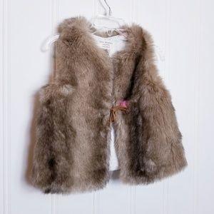 Zara Baby Girl Faux Fur Vest Size 12/18M